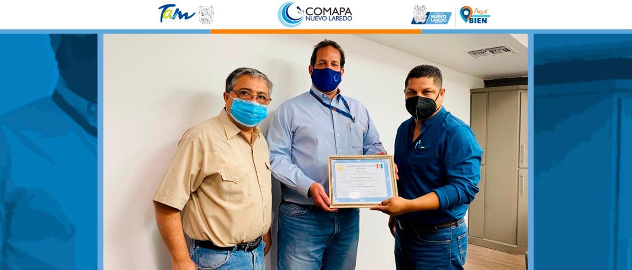 Club Rotario Nuevo Laredo reconoce labor de COMAPA